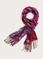 Foulard écharpe à motif floral et franges, Rouge, hi-res