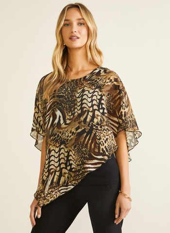 Animal Print Poncho Blouse, Brown,  blouse, poncho, chiffon, animal, asymmetric, sleeveless, spring summer 2020