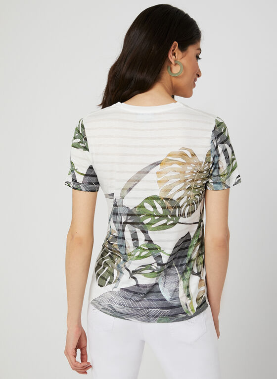 T-shirt motif feuilles à cristaux, Vert, hi-res