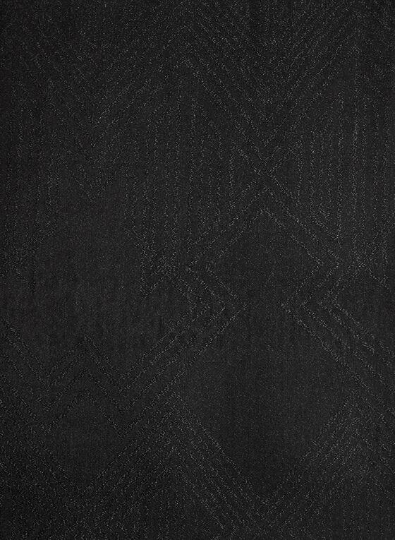 Foulard à franges avec motif aztèque métallisé, Noir, hi-res