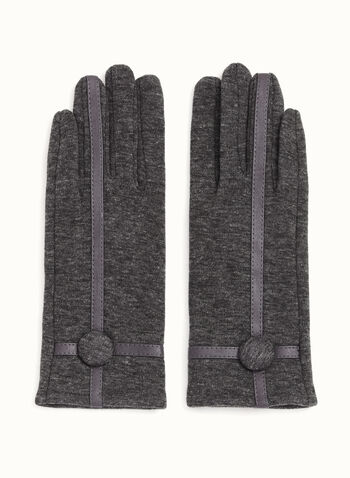 Leather Trim Knit Gloves, , hi-res