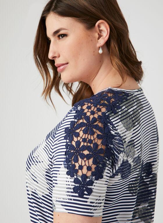 T-shirt rayé et fleuri à détails crochet, Bleu