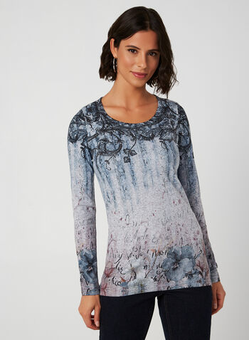 Vex - Mixed Floral Print Knit Top, Blue, hi-res,  top, knit, knitwear, blouse, sweater, long sleeves, rhinestone, floral,writing, scoop neck, writing, fall 2019, winter 2019