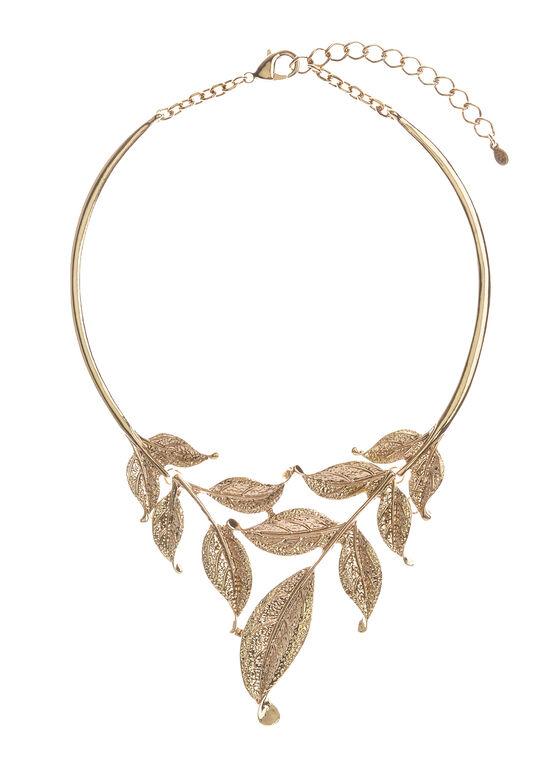 Metallic Textured Leaf Necklace , Gold, hi-res