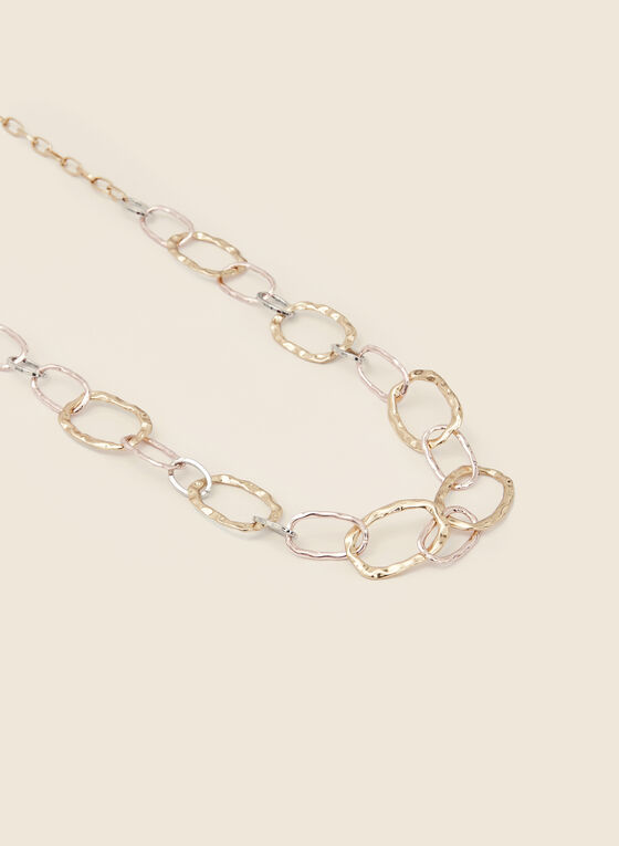 3-Tone Chain Link Necklace, Yellow