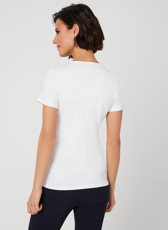 T-shirt en coton à motifs fantaisie, Blanc