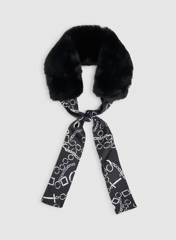 Faux Fur Animal Print Scarf, Black,  fall winter 2019, faux fur, animal print, necktie, scarf