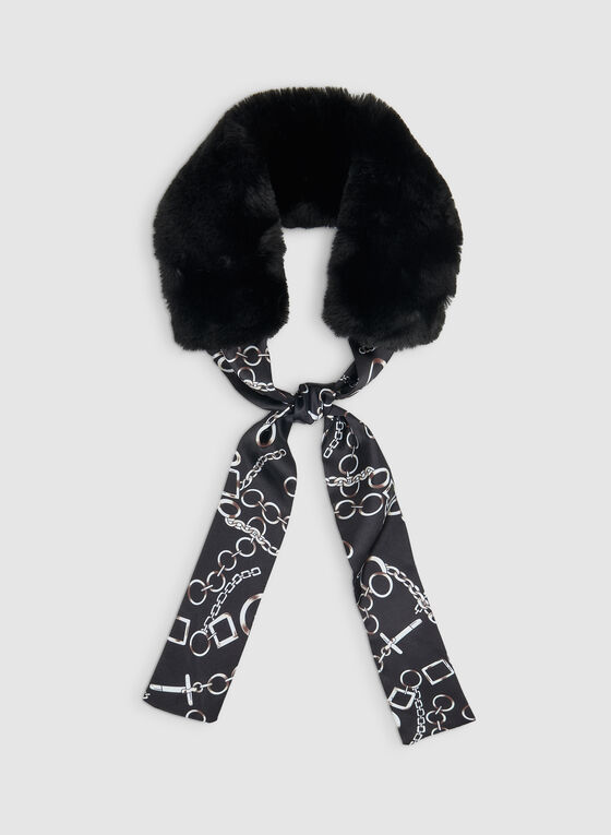 Faux Fur Animal Print Scarf, Black