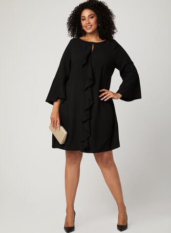 Bell Sleeve Crepe Dress , Black, hi-res
