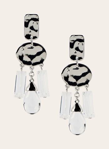 Geometric Crystal Dangle Earrings, Silver, hi-res