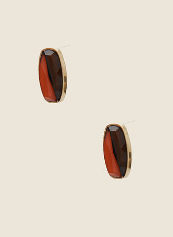 Two Tone Earrings, Brown,  fall winter 2020, jewellery, accessories, earrings, epoxy, resin, two tone