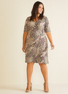 Medallion Print V-Neck Dress, Brown