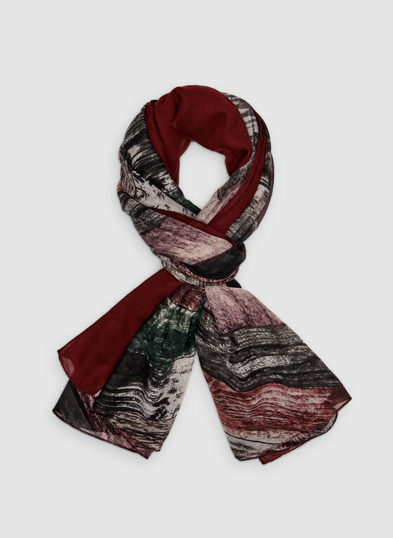 Stripe Print Scarf, Red