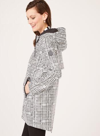 Chillax - Manteau imperméable à imprimé abstrait, Noir, hi-res