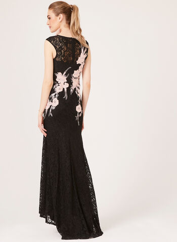 Illusion Neck Floral Lace Dress, Black, hi-res