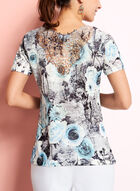 V-Neck Floral Print Top, Grey, hi-res