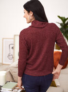 Cowl Neck Rib Knit Top, Red