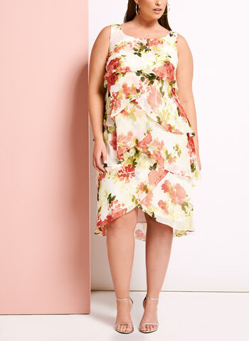 Tiered Floral Print Chiffon Dress, , hi-res