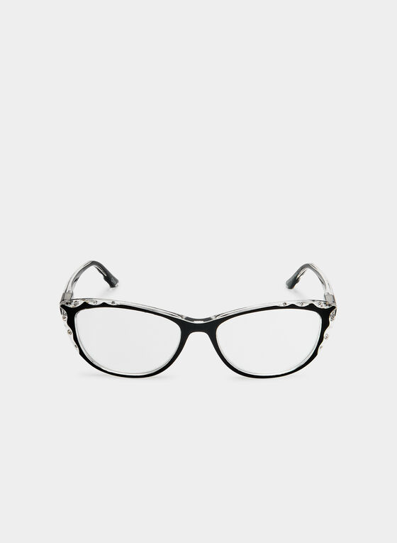 Cat Eye Glasses, Black, hi-res