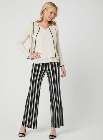Stripe Print Wide Leg Pants, Black, hi-res,  canada, jersey, pull-on, spring 2019
