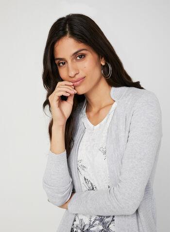 Cardigan zippé en tricot ottoman, Gris, hi-res,  cardigan, manches longues, col mao, ottoman, coton, zip, automne hiver 2019