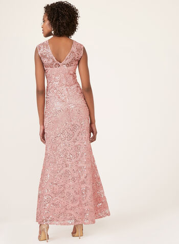 Floral Embroidered Mermaid Dress, Pink, hi-res