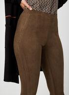 Faux Suede Slim Leg Pants, Brown