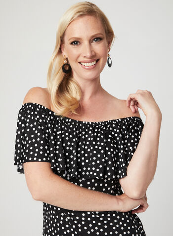 Polka Dot Print Dress, Black, hi-res