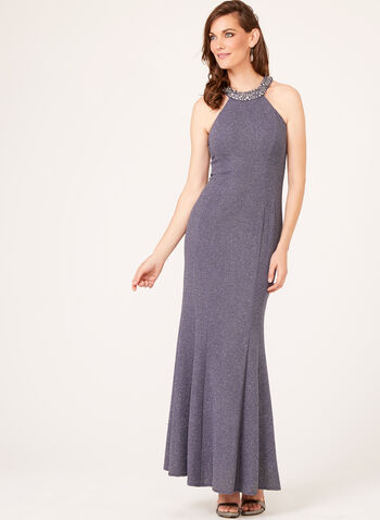 Beaded Cleo Neck Gown, Silver, hi-res