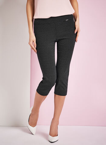 Modern Fit Dot Print Capris, Black, hi-res