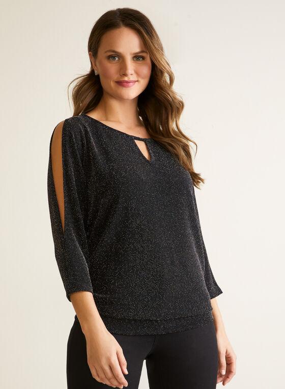 Cold Shoulder Top With Shimmer, Black