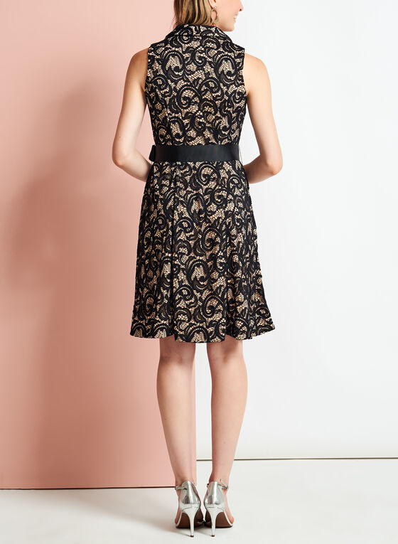 Lace Collared Fit & Flare Dress, Black, hi-res