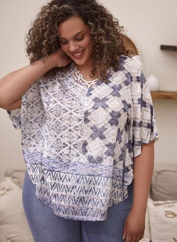 T-shirt style poncho à motif patchwork, Bleu,  t-shirt, poncho, encolure en V, manches courtes, dentelle, patchwork, printemps été 2021