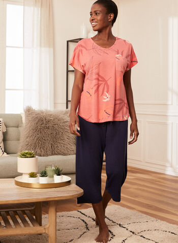 Print & Monochrome Pyjama Set, Orange,  pyjamas, set, 2 piece, capris, t-shirt, tropical print, drawstring, spring summer 2021