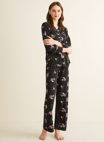 Comfort & Co. - Floral Print Pyjama Set, Black,  pyjamas, sleepwear, shirt, pants, floral, stretchy, satin, long sleeves, shirt collar, button-up, spring summer 2020