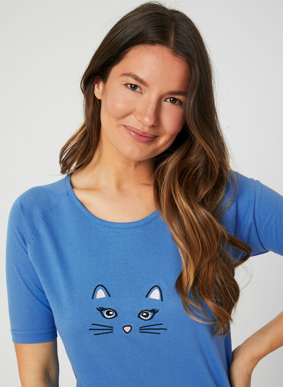 Bellina - Cat Print Pyjama Set, Blue