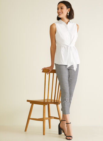 Meg & Margot - Gingham Print Pull-On Capris, Blue,  capris, pull-on, gingham, slim leg, belt, spring summer 2020