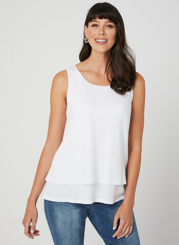 Charlie B - Layered Sleeveless Top, White, hi-res,  tank top, cotton, spring 2019