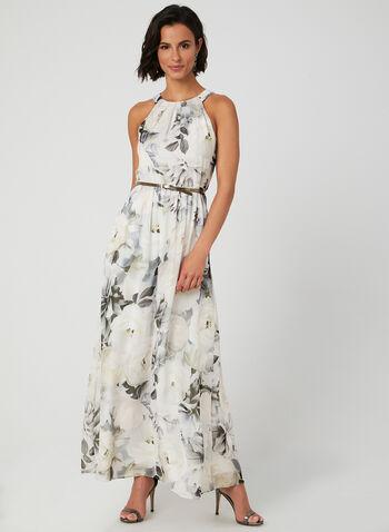 Robe fleurie en mousseline , Blanc, hi-res,  robe de soirée, sans manches, col cléopâtre, mousseline fleurie, ceinture, automne hiver 2019
