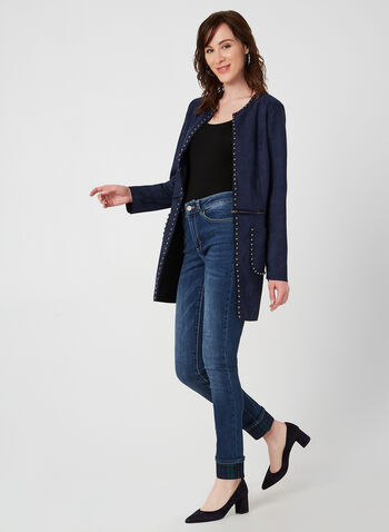 Charlie B - Modern Fit Jeans, Blue, hi-res,  jeans, denim, pants, Modern Fit, Charlie B, slim leg, slim ankle, plaid, fall 2019, winter 2019