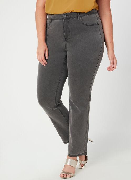 Jeans coupe signature à jambe droite, Gris, hi-res