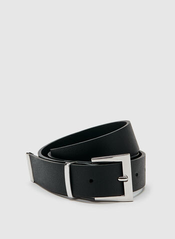 Faux Leather Belt , Black, hi-res