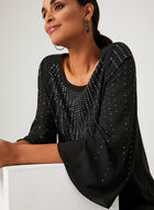 Rhinestone Angel Sleeve Blouse, Black, hi-res