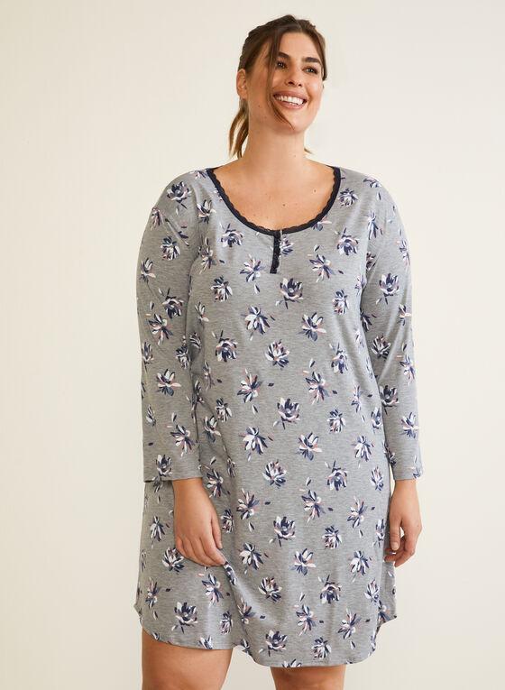 Floral Print Nightshirt, Grey