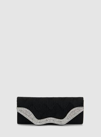 Pochette texturée avec détails de perles et de cristaux, Noir, hi-res