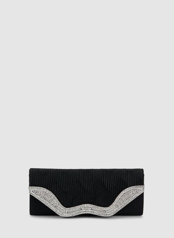 Textured Pearl Embellished Clutch, Black, hi-res
