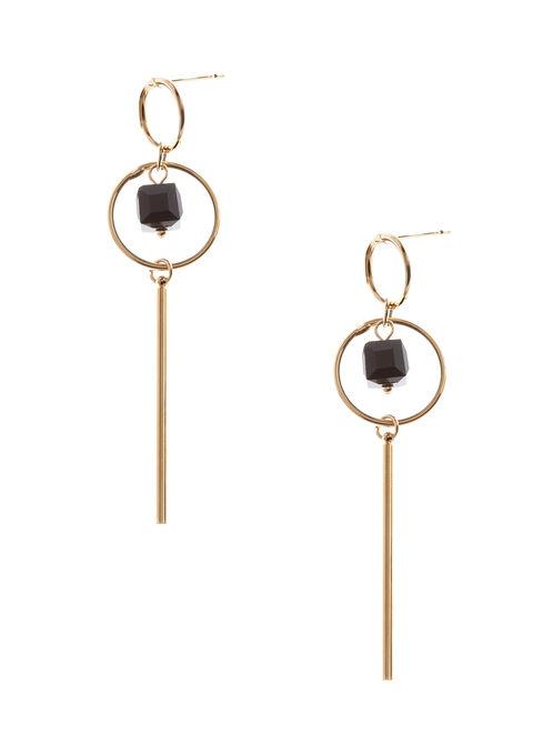 Boucles d'oreilles avec anneau, pierre et baguette, Noir, hi-res