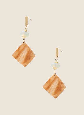 Square Pendant Dangle Earrings, Brown,  earring, pendant, dangle, resin, beat, square, spring summer 2020