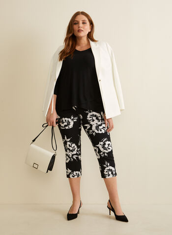 Floral Print Capris, Black,  spring summer 2020, stretchy fabric, straight leg, floral print