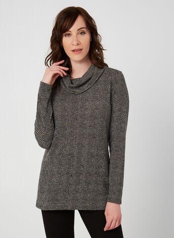 Haut à col roulé et manches longues, Noir, hi-res,  haut, col roulé, manches longues, tricot, coutures, automne hiver 2019